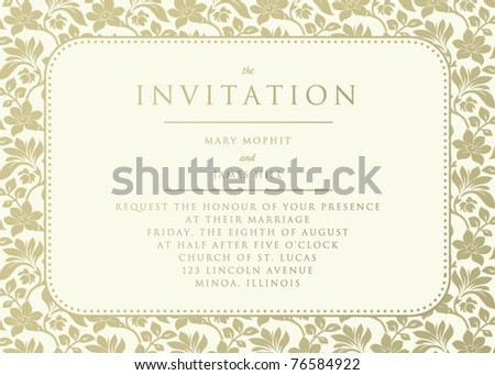 Ornate damask background. Invitation to the wedding or announcements - stock vector