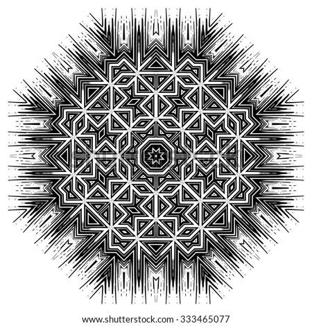 Ornate ethnic mandala or festive snowflake. Monochrome editable  luxury oriental motif. Fantasy element for design. Vintage black and white vector illustration.Fantasy symbol  on  white background. - stock vector
