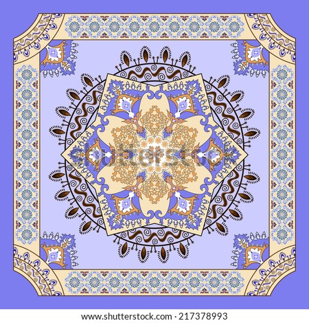 ornate floral pattern for bandanna on a lilac background with blue decor - stock vector