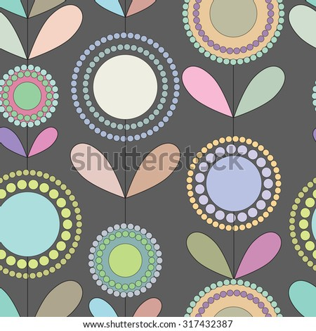 Ornate floral seamless texture, endless pattern with flowers looks like retro. Seamless pattern can be used for wallpaper, pattern fills, web page background, surface textures. - stock vector