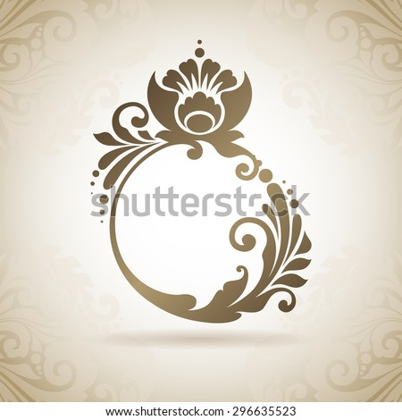 Ornate flourish calligraphic ring. Design element for Logo template, business sign, identity for Boutique, Jewelry, Fashion, Wedding salon Vector illustration. Decorative icon on pattern background - stock vector