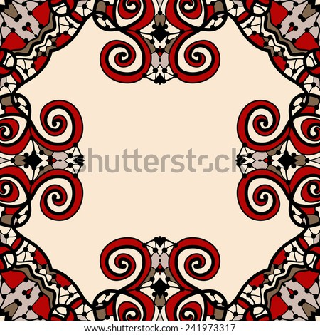 Ornate frame for text in red and light brown color. Art vintage decorative elements. Hand drawn tribal style yantra. Flayer template oriental style motif. - stock vector