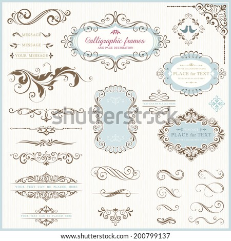 Ornate frames and scroll elements for weddings, anniversaries, engagements, save the date announcements, thank you notes or any special occasion. - stock vector