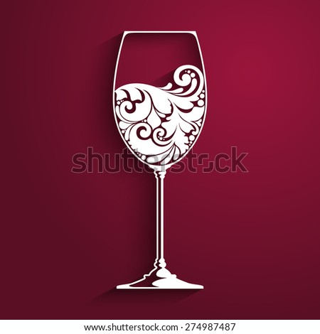 Ornate glass of wine. Vector element for wine list, menu design template. Vector illustration - stock vector