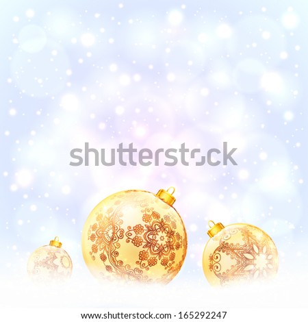 Ornate golden Christmas balls on shining blue background - stock vector