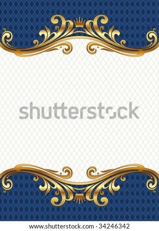 Ornate golden frame - stock vector