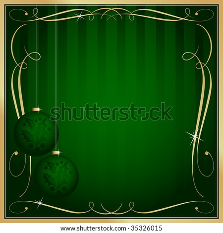 Ornate Green Christmas Card or Tag with Ornament and Copy Room. See my color and design variations on this theme. - stock vector