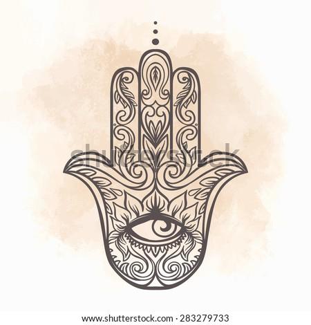 Ornate hand drawn hamsa. Popular Arabic and Jewish amulet. Vector illustration. - stock vector
