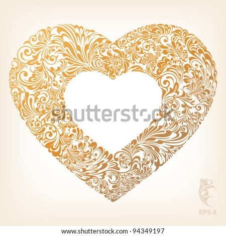 ornate Heart Shape - stock vector