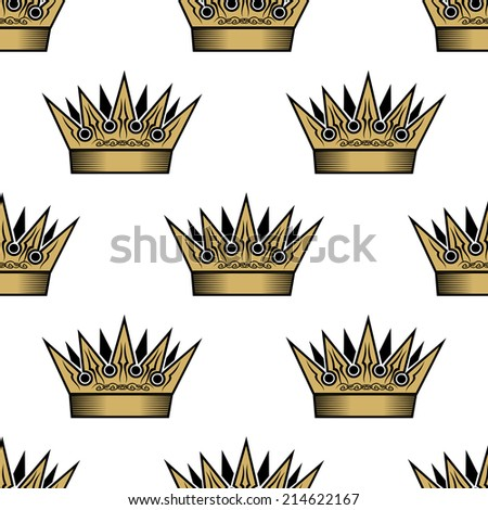 Ornate heraldic seamless pattern of golden royal crowns for wallpaper, tiles and fabric design - stock vector