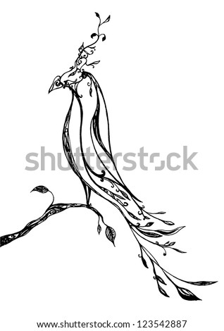 Ornate ird made of flowers - stock vector