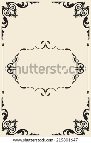 Ornate old page is isolated on beige - stock vector
