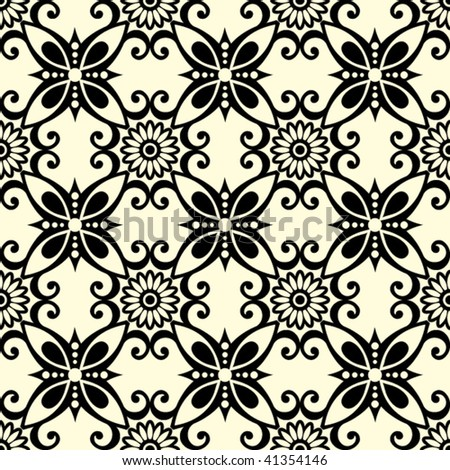 ornate seamless pattern, vector illustration - stock vector