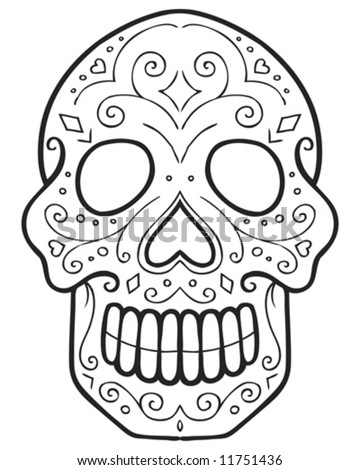ornate skull tattoo outline - stock vector