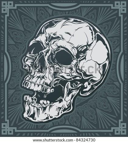 Ornate Skull Tile - stock vector