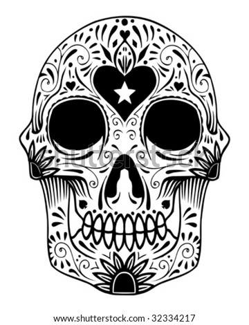 ornate sugar skull vector - stock vector