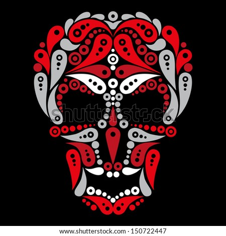 Ornate tattoo skull  - stock vector