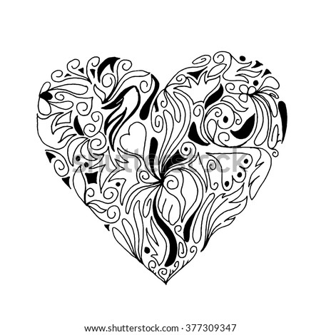 Ornate vector floral heart in Victorian style. Elegant element for logo design. Lace floral illustration for wedding invitations, greeting cards, Valentines cards. Vintage red decor in shape of heart. - stock vector