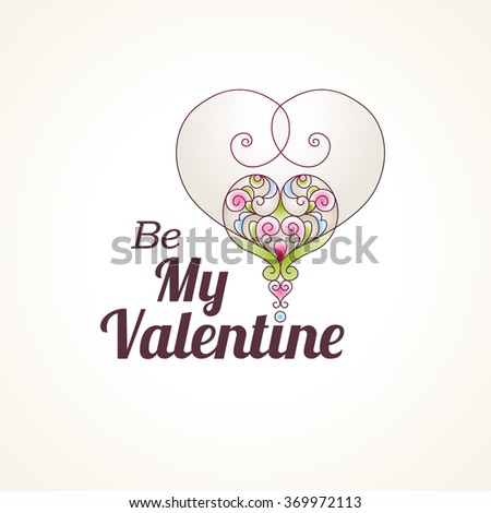 Ornate vector heart in Eastern style. Be My Valentine Illustration. Elegant element for logo design. Lace floral decor for wedding invitations, greeting cards, Valentines cards. Graceful pattern. - stock vector