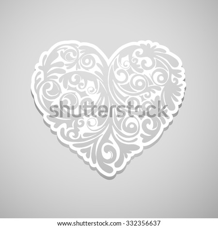 Ornate vector heart in Victorian style. Elegant element for logo design. Lace floral illustration for wedding invitations, greeting cards, Valentines cards. Vintage white decor in shape of heart. - stock vector