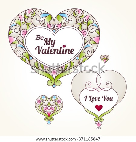 Ornate vector hearts in Eastern style. Be My Valentine Illustration. Elegant element for logo design. Lace floral decor for wedding invitations, greeting cards, Valentines cards. Graceful pattern. - stock vector