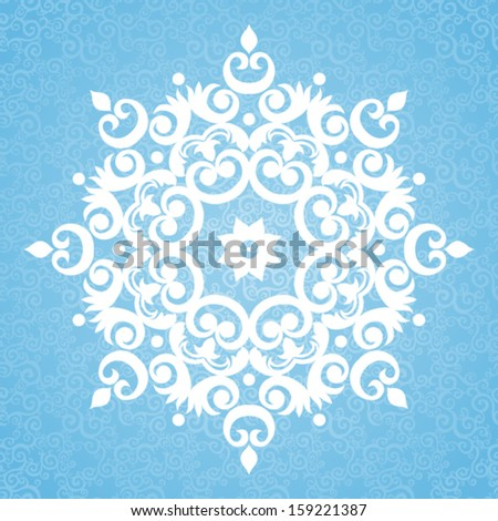 Ornate vector snowflake for Christmas design on seamless background. - stock vector