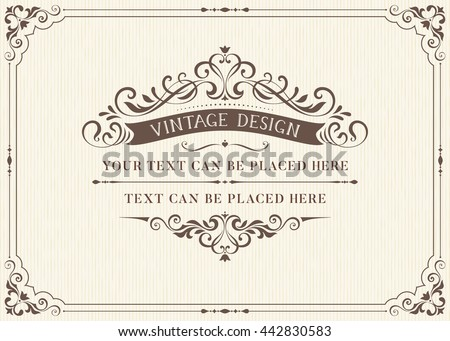 Ornate vintage card design with ornamental flourishes frame. Use for wedding invitations, royal certificates, greeting cards. Vector illustration. - stock vector