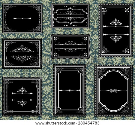 Ornate Vintage Frames - Set of Ornate vector frames.  Each frame is grouped individually for easy editing.  Colors are global.  Seamless pattern included in swatches window. - stock vector
