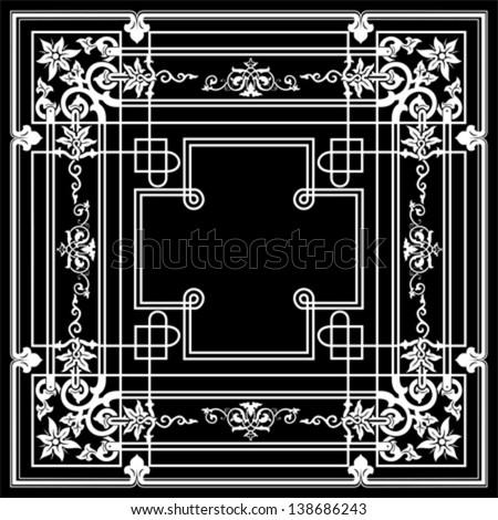 Ornate Vintage One Color Quad Background - stock vector