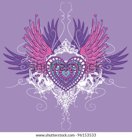Ornate Winged Heart (Hand Drawn) - stock vector