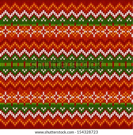 Ornate zigzag stripes vector Christmas knit seamless pattern - stock vector