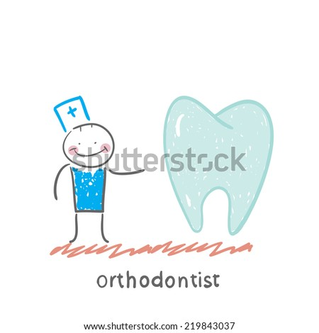 orthodontist is with great teeth - stock vector