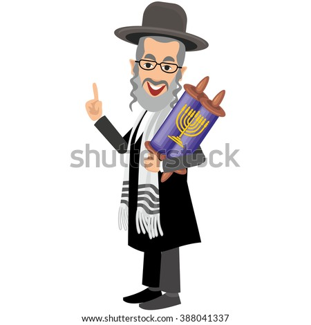 orthodox jew,hassid,rabbi,with Payot and torah - stock vector