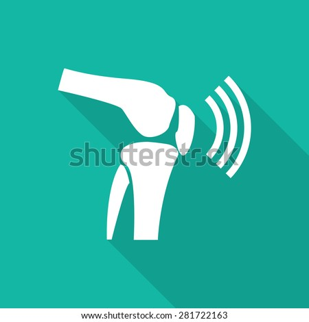 Orthopedic flat icon with long shadow on green background. - stock vector