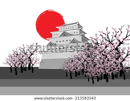 osaka castle Japan - stock vector