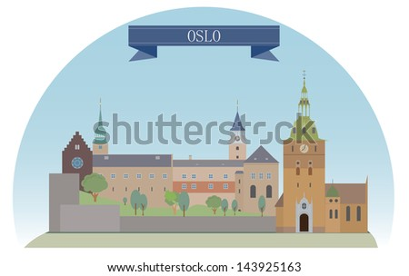 Oslo, Norway. For you design - stock vector
