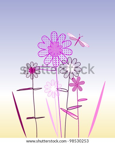 ostcard with magenta spring flowers and butterflies - stock vector