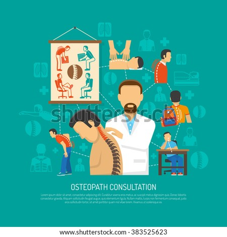 Osteopathy flat design concept with doctor consulting patient and icons of people with spine problems vector illustration     - stock vector