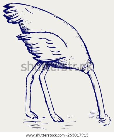 Ostrich burying its head in sand. Doodle style - stock vector