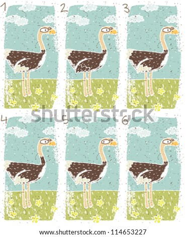 Ostrich Puzzle ... Task: Find two identical images (match the pair)! ... Answer: No. 1 and 6 - stock vector