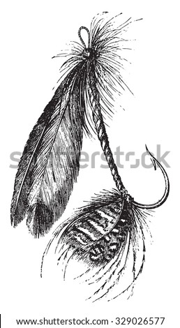 Other form of artificial fly, vintage engraved illustration. Magasin Pittoresque 1867. - stock vector
