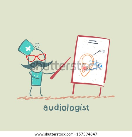 otolaryngologist shows a presentation about the ear - stock vector