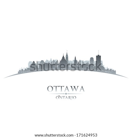 Ottawa Ontario Canada city skyline silhouette. Vector illustration - stock vector
