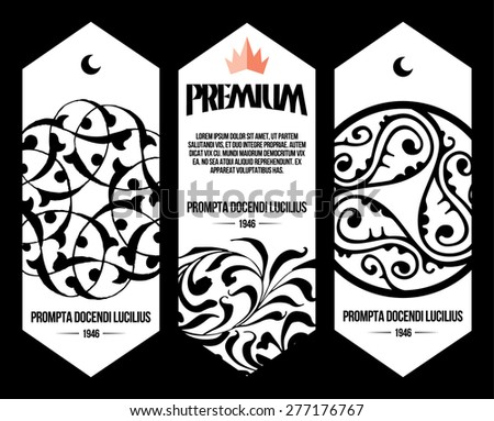 ottoman pattern labels - stock vector