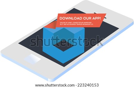 Our new mobile app - stock vector