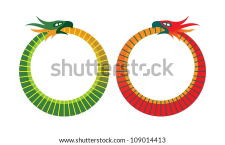 Ouroboros is a symbol depicting a serpent eating its own tail.Represents cyclicality,  something constantly re-creating itself, eternal (phoenix).Important in religion, mythology, alchemy (wikipedia) - stock vector