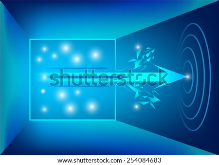 Out of box and arrow to the target concept, vector illustration - stock vector