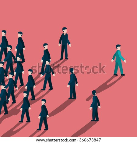 Out standing or unique style businessman walking to different way like turning his back to mass of people  - stock vector