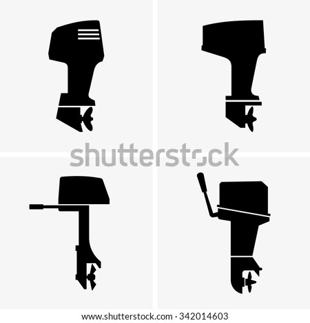 Outboard boat motors - stock vector