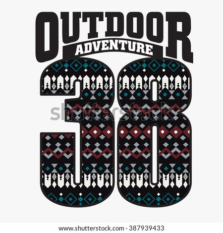 OUTDOOR ADVENTURE - Vector Graphics and typography t-shirt design for apparel. Varsity. - stock vector